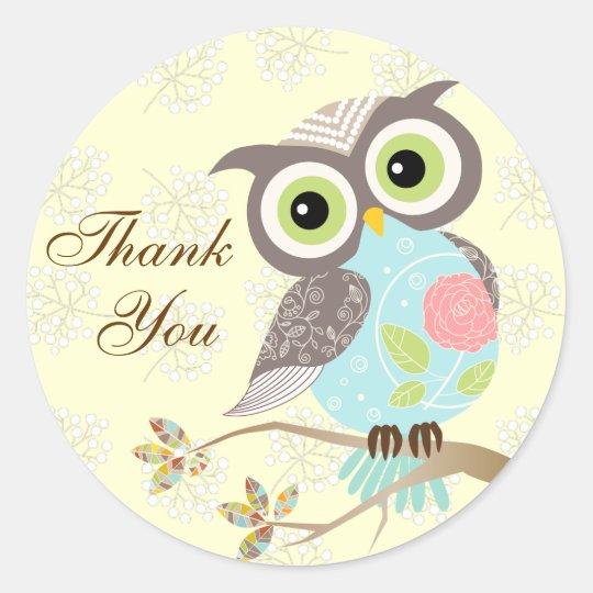Fancy Funky Owl Thank you Stickers | Zazzle.com