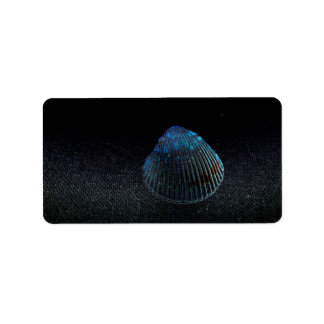 cockle shell back dark seashell beach image personalized address label