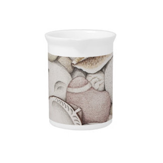 Cockle & Spiral Shells & Pebbles in Colour Pencil Drink Pitcher
