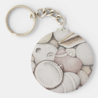 Cockle & Spiral Shells & Pebbles in Colour Pencil Keychain