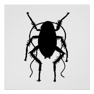 Cockroach Silhouette Poster