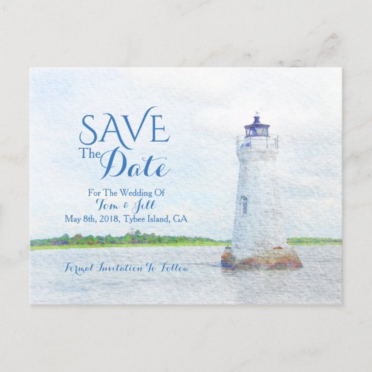3d4aa70566ea4 Cockspur Lighthouse Watercolor Save The Date Announcement Postcard ...