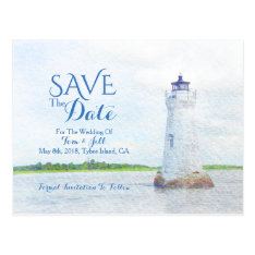 Cockspur Lighthouse Watercolor Save The Date Postcard at Zazzle