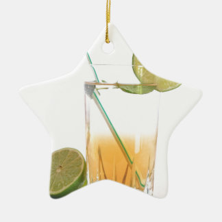 Cocktail Alcoholic Drink With Lime Peppermint Ceramic Ornament