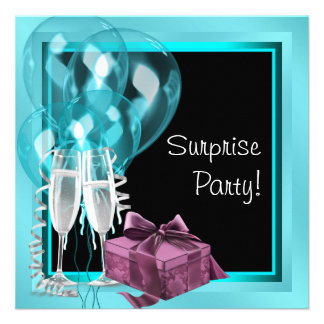 Cocktail Balloon Teal Blue Surprise Birthday Party Custom Invite