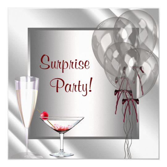 Cocktail Balloons Red Surprise Birthday Party Card