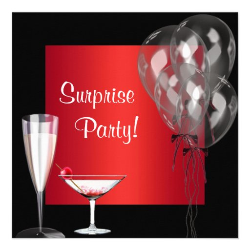 Cocktail Balloons Red Surprise Birthday Party Announcements (front side)