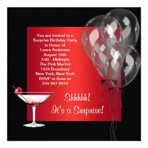 Cocktail Balloons Red Surprise Birthday Party Announcements (back side)