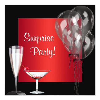 Cocktail Balloons Red Surprise Birthday Party Announcements