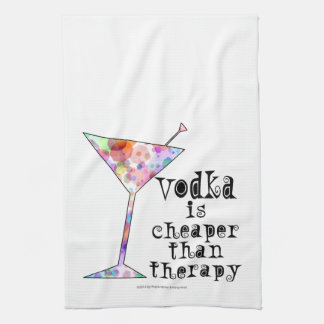 COCKTAIL BAR TOWELS, VODKA IS CHEAPER THAN THERAPY KITCHEN TOWEL