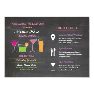 Cocktail Bridal Shower Itinerary Bachelorette Card