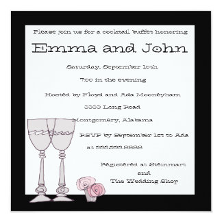 Cocktail Buffet in Black and White Invitations