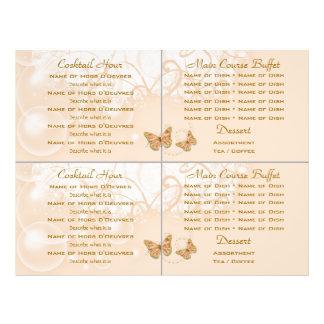 Cocktail buffet wedding menu template flyer design