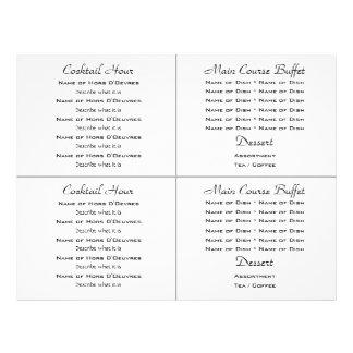 Cocktail buffet wedding menu template flyer