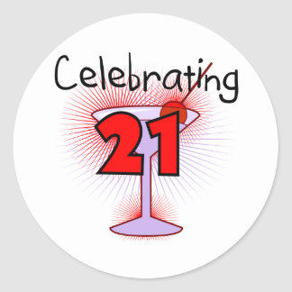Cocktail Celebrating 21 Tshirts and Gifts Classic Round Sticker