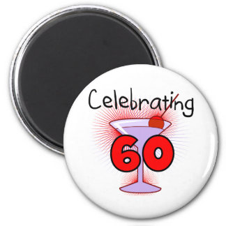 Cocktail Celebrating 60 Tshirts and Gifts 2 Inch Round Magnet