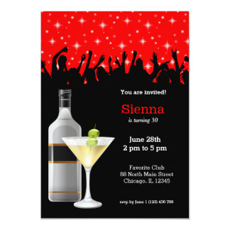 Cocktail * choose background color 5x7 paper invitation card