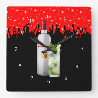 Cocktail * choose background color square wall clock