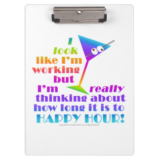 Cocktail Clip Board - How Long to Happy Hour Clipboard