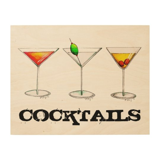 Tail Cosmo Martini Manhattan Bar Kitchen Drink Wood Wall Decor