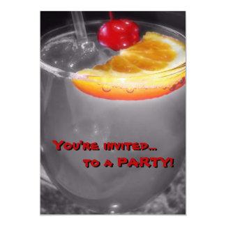 Cocktail Drink Maraschino Cherry Happy Hour 5x7 Paper Invitation Card