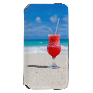 Beach Themed Cocktail Drink on Sandy Tropical Beach iPhone 6/6s Wallet Case