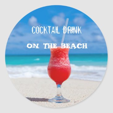 Beach Themed Cocktail Drink On The Beach Classic Round Sticker