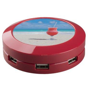 Beach Themed Cocktail Drink on Tropical Sandy Beach USB Charging Station