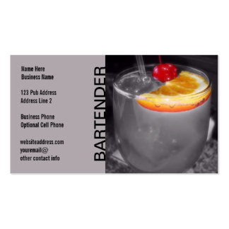Cocktail Drink Photo Pub Bar or Bartender Gray Business Card