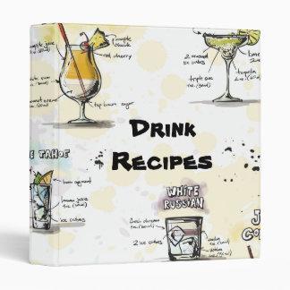 Cocktail Drink Recipe Design 3 Ring Binder
