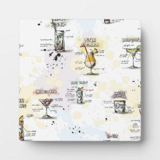 Cocktail Drink Recipe Design Plaque