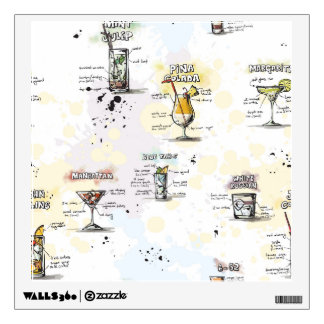 Cocktail Drink Recipe Design Wall Decals