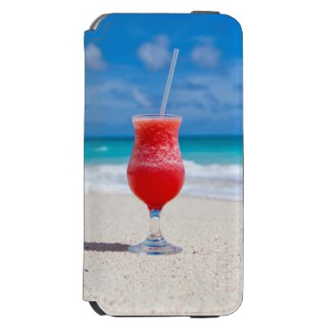 Beach Themed Cocktail Drink Tropical Beach Turquoise Water iPhone 6/6s Wallet Case