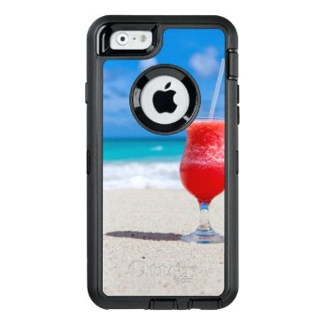 Beach Themed Cocktail Drink Tropical beach Turquoise Water OtterBox Defender iPhone Case
