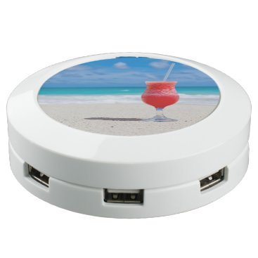 Beach Themed Cocktail Drink Tropical Beach Turquoise Water USB Charging Station