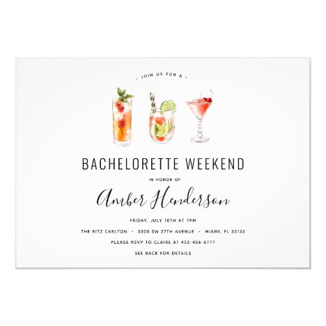 Cocktail Drinks Bachelorette Itinerary Invitation