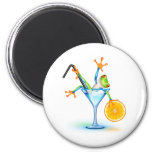 Cocktail Frog 2 Inch Round Magnet