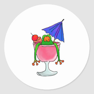Cocktail Frog Round Sticker