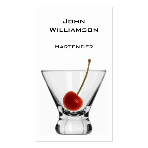 Cocktail Glass Cherry Professional Bartender Business Card Templates