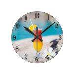 Cocktail glass round wall clocks