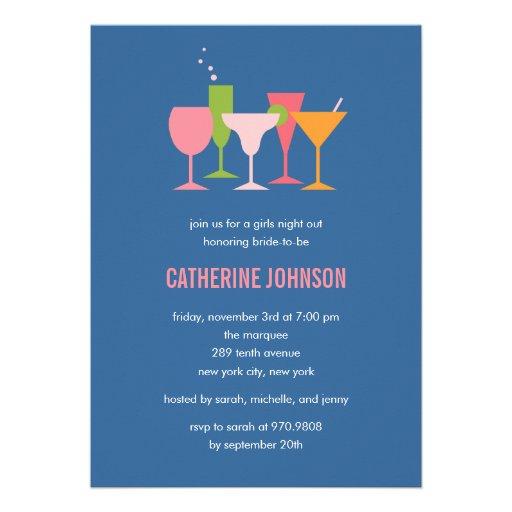Cocktail Glasses Bachelorette/Bridal Shower Invite