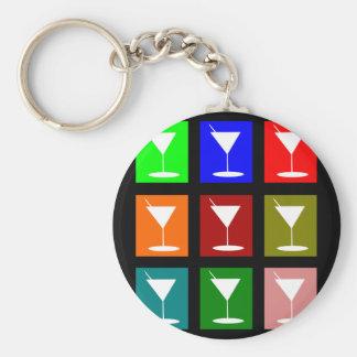 Cocktail Glasses Basic Round Button Keychain