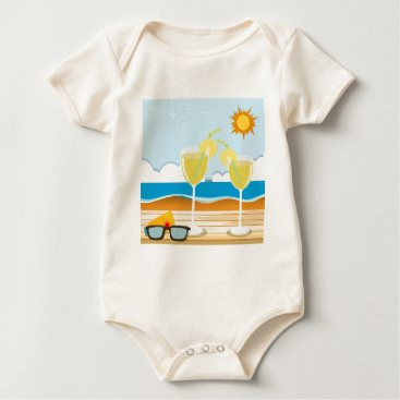 Beach Themed Cocktail glasses by the sea baby bodysuit