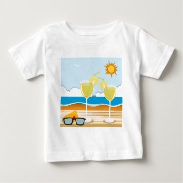 Beach Themed Cocktail glasses by the sea baby T-Shirt