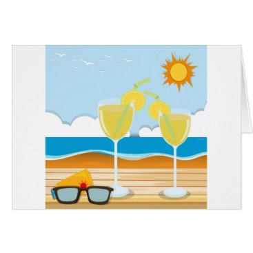 Beach Themed Cocktail glasses by the sea card