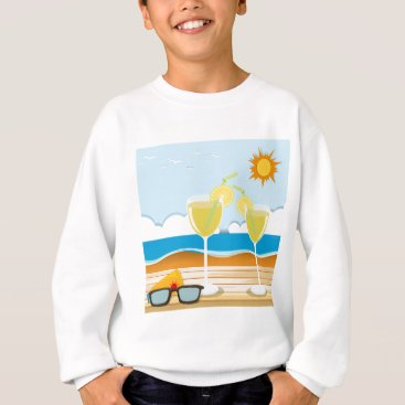 Beach Themed Cocktail glasses by the sea sweatshirt