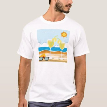 Beach Themed Cocktail glasses by the sea T-Shirt