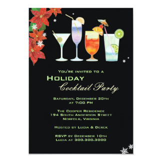 """Cocktail Glasses Holiday Cocktail Party Invitation 5"""" X 7"""" Invitation Card"""