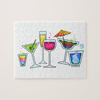 COCKTAIL GLASSES PUZZLE or PUZZLE GIFT TIN
