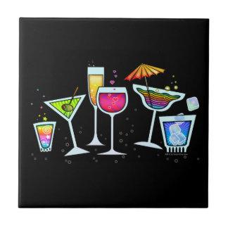 COCKTAIL GLASSES TILE - COASTER - TRIVET